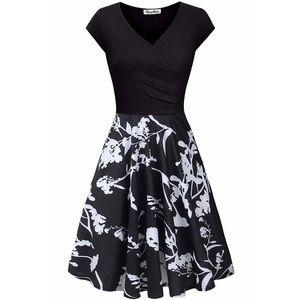 Floral Printed, A- Line Cap Sleeve, V-Neck Dress